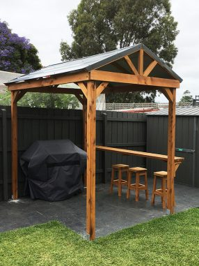 Timber BBQ Hut Gazebo with Bar Bench and Stools