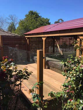 Large Timber Gazebo with Glass Pool Fencing and Deck
