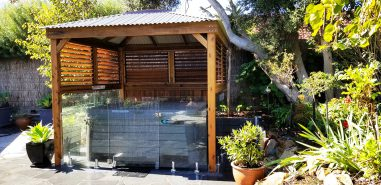 Pool Compliant Timber Gazebo with Glass Pool Fencing and Plantation Shutters